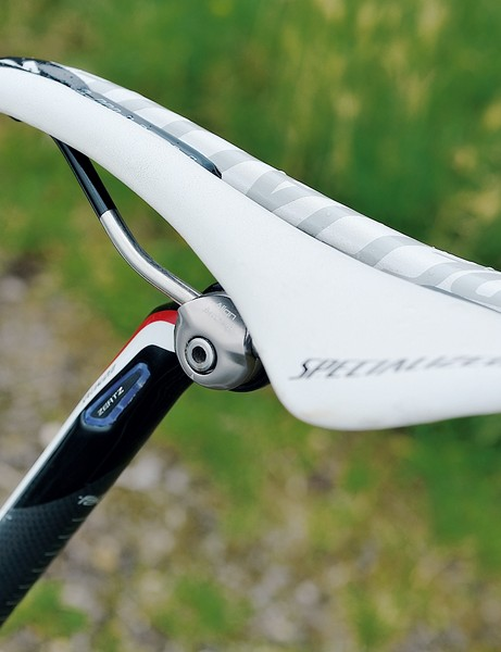 The skinny Specialized seatpost gets an elastomer Zertz insert to add suspension and the Romin saddle is comfortable