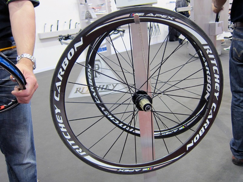 Ritchey's new WCS Apex carbon clinchers use Reynolds-built rims laced to cartridge bearing hubs using a crow's-foot spoking pattern on the rear