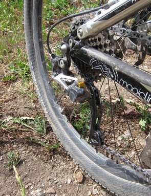Shimano's new Shadow Plus derailleur makes up for the bike's lack of a full chain guide