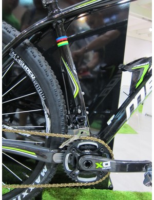 Merida kinks the seat tube just a hair on the Big.Nine to allow for a shorter rear end.