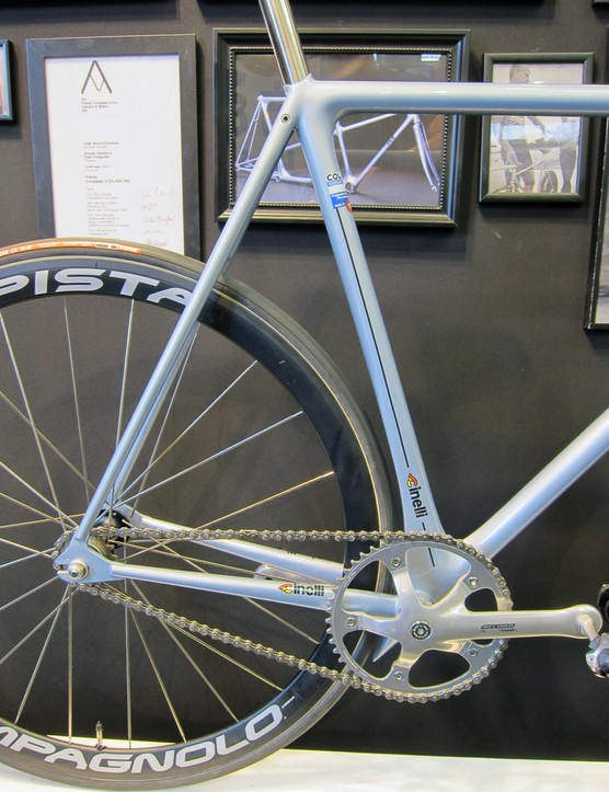 Check out the super short chain stays and offset, profiled seat tube on the Cinelli Laser Nostro.
