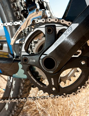 The drivetrain has changed from Shimano SLX to SRAM 2x10