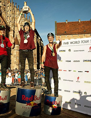Sam Pilgrim (R) finished third overall in the FMB World Tour behind Brandon Semenuk (C) and Cameron Zink (L)