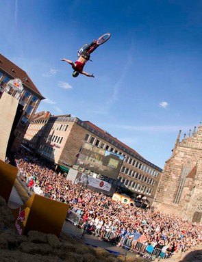 Sam Pilgrim in action during the final round of the FMB World Tour in Nuremburg, Germany