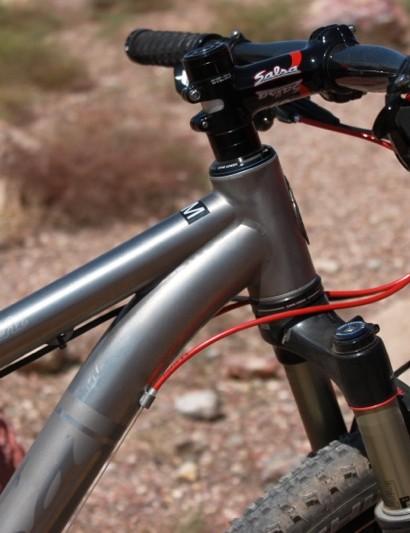 The ti bike sports a 44mm head tube too