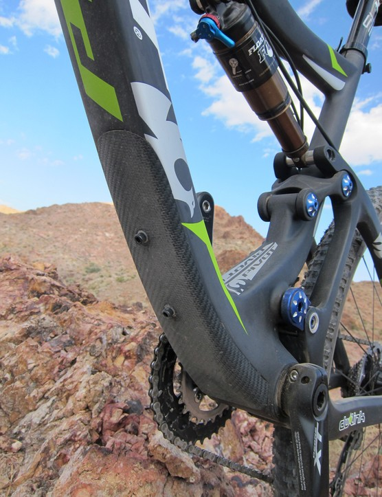 The down tube sports a underside guard to protect from rock strikes