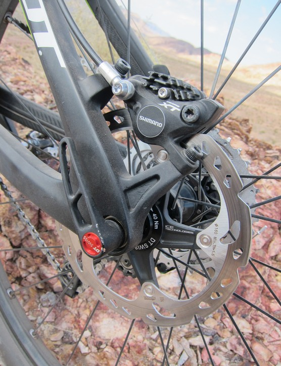 142x12mm thru-axle dropouts contribute to the stout-feeling rear end. Post mount tabs eliminate the need for an extra adapter, too (provided you're running a 160mm rear rotor)