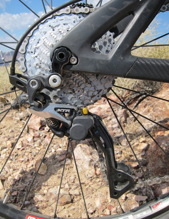 Adding to the quiet ride of the Pivot Mach 5.7 Carbon was our test bike's Shimano XTR Shadow Plus rear derailleur