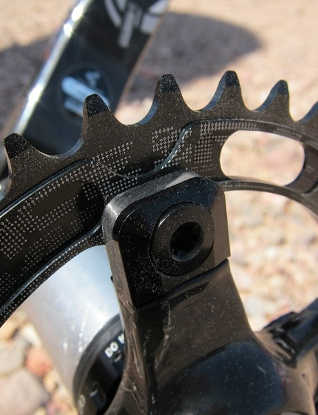 The carbon fiber chainring tabs on the Race Face SixC DH crank are 4.5mm thick for extra durabilty