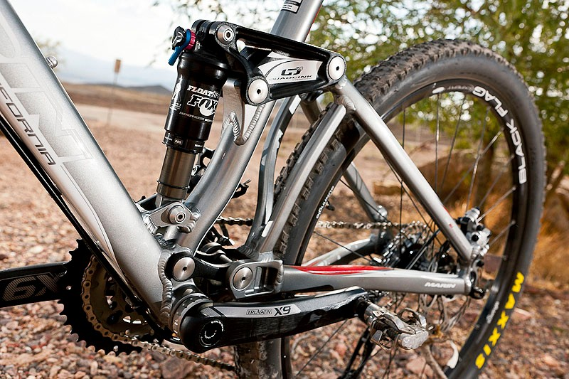 The Marin Rift Zone XC8 features version 3.0 of Marin's Quad Link suspension system