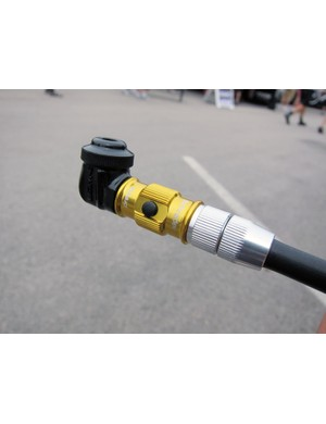 The new bleed port on Lezyne's ABS pump heads releases pressure from the pump and hose, making it easier to remove the head and extending the life of the o-rings.  The black right-angle adapter is included with all new pumps, too, and uses a slip-fit design that's better suited to non-threaded valve stems and disc wheels.