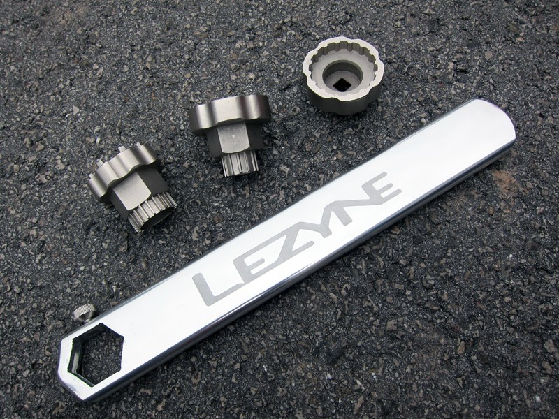 Lezyne's new CNC Rod tool features interchangeable forged and machined steel tool inserts to work with various bottom bracket and cassette spline patterns.
