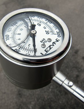 The liquid-filled gauge on Lezyne's new suspension pump supposedly improves its durability.