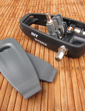 The SKS Bit-Worx mini-tool features both straight and right-angle sockets, an assortment of interchangeable bits, and even two tire levers.