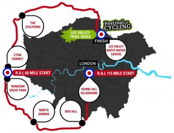 The 115 mile Ride Around London route departs from the newly refurbished Herne Hill Velodrome