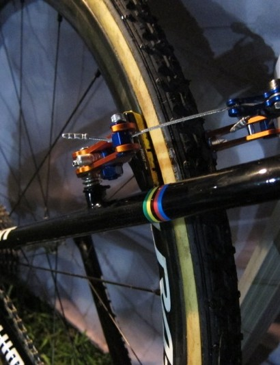 More rainbow stripes and another view of the custom Rabobank cantilever brake