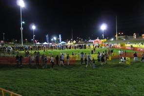 Looking across the course to the pits. The Desert Breeze Soccer Complex served up wet grass and squishy ground for the event