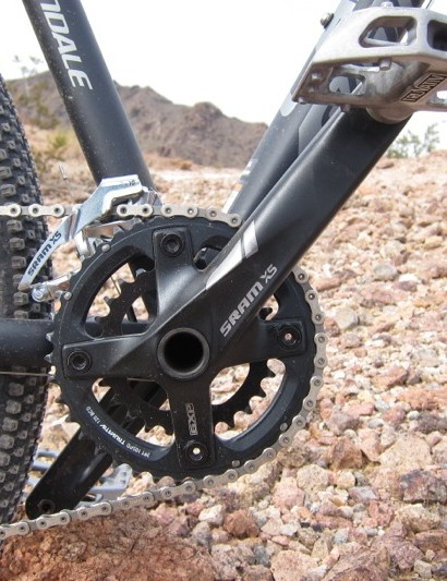 The X5 2x10 crank; the while it uses the X-Glide timed chainring concept, the inner ring is stamped from steel