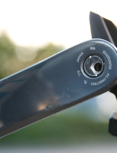 175mm long cranks help to turn that big ring and Dura Ace pedals keep things secure.