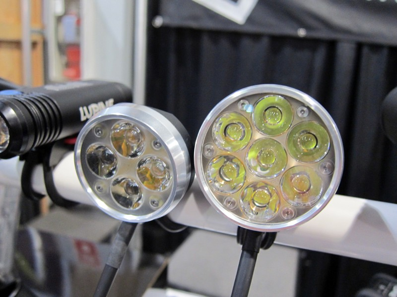 Lupine's Wilma (left) and Betty LED lights respectively throw up to 1,500 and 2,600 lumens of light