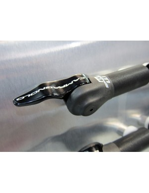 The new Campagnolo bar-end shifters use S-bend levers that fit just right between your thumb and forefinger.