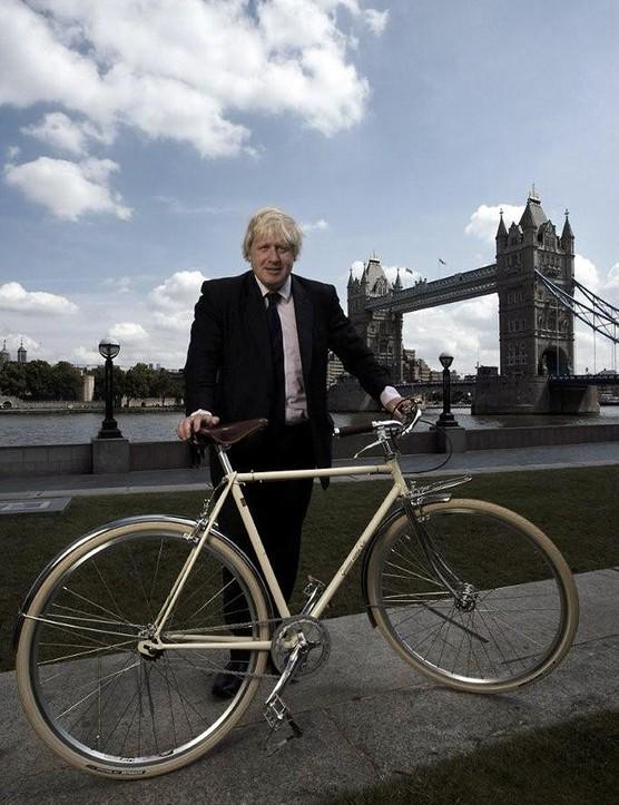 The Mayor of London, Boris Johnson and the original 'Boris Bike' by Gunn & Co.