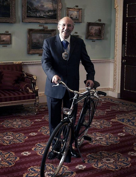 The Rt. Hon The Lord Mayor of the City of London Alderman Michael Bear with a 1980 Gentleman's Raleigh Superbe