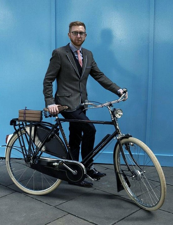 Paul A Young, owner and founder of Paul A Young Fine Chocolates, rides a Gazelle Toer Populair from The Bicycle Man