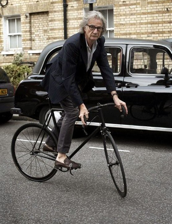 Fashion designer, Sir. Paul Smith riding a Limited Range Paul Smith Cycles by Mercian