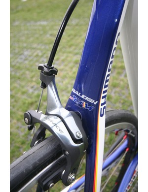 The Team's brake bridge flows into skinny seat stays