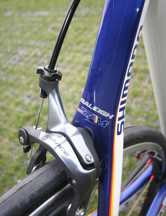 The Team's brake bridge flows into skinny seat stays