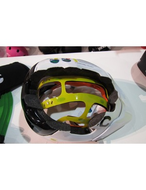 A cut-away of POC's Trabec Race MIPS helmet