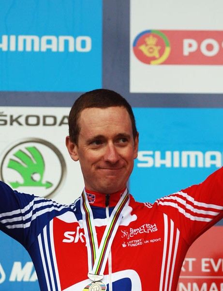 Brad Wiggins celebrates silver in the elite men's TT
