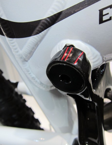 Built-in sag indicators on Rocky Mountain's Element bikes are conveniently located right up top.