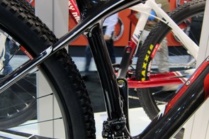 The seat tube on Rocky Mountain's new Vertex RSL carbon 29er frame is kinked for greater tire clearance and shorter chain stays as well as slightly tapered from top to bottom.
