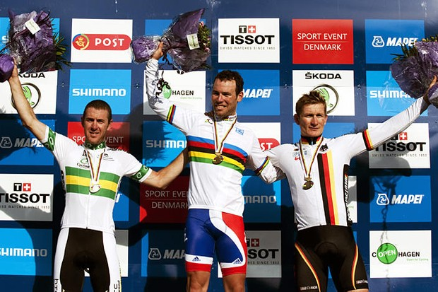 The podium: Matt Goss (2nd), Mark Cavendish (1st) and Andrei Greipel (3rd)
