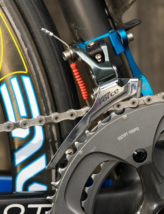 SRAM Force front mech, and the cable's exit from the frame is visible