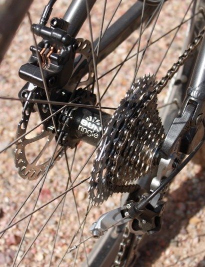 The AMT uses Sun-Ringle's wide-rimmed Charger Expert wheelset with a 12x135mm rear axle