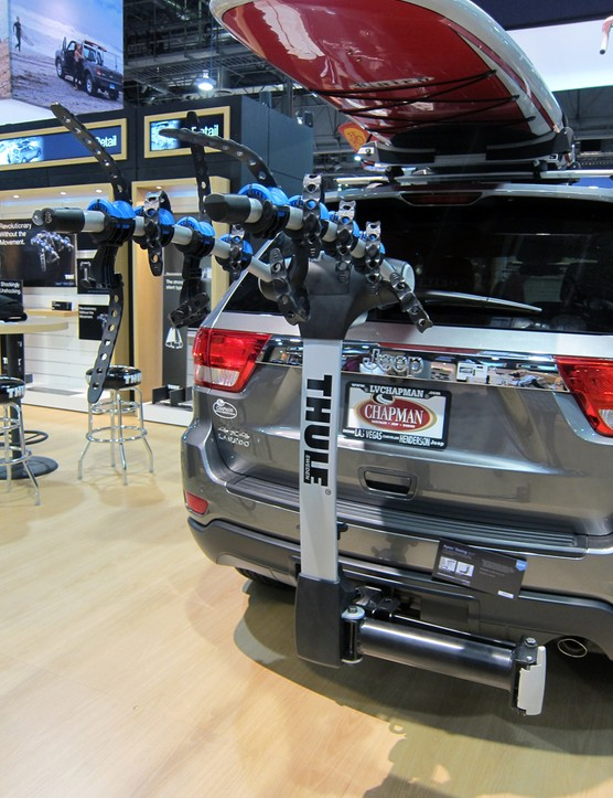 The new Thule Apex Swing is a stout-looking hitch-mounted carrier designed for up to four bikes