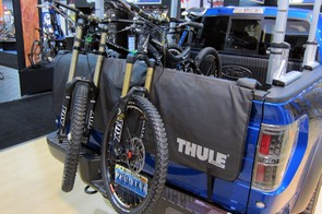 The new Thule Gate Mate is a more elegant solution than moving blankets to carrying a lot of bikes in the bed of your truck