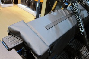 So-called 'Knock Blocks' keep bikes from sliding too far to the edge of Thule's new Gate Mate truck bed accessory while the stitched-on nylon webbing provides a handy point to strap things down