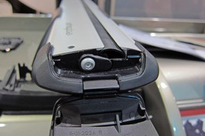 Yakima Whispbar users just have to flip open the hatch on the end of the bar to install and remove accessories