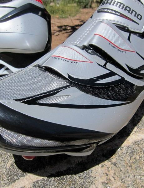 Shimano fit the SH-M315 shoes with a durable plastic toe cap. Mesh panels provide noticeably good airflow, too