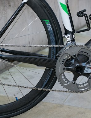 Deep oversized chainstays and a SRAM Red drive train