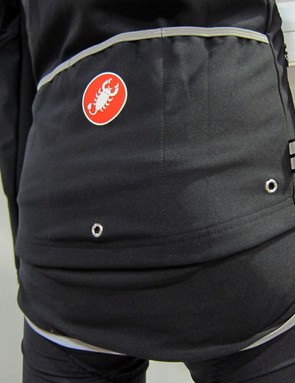 Drain holes in the Castelli Aero Rain Lite LS jersey keep the pockets from filling with water