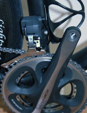 The front derailleur clamp is a custom Parlee creation that moves clamping force away from the seat tube