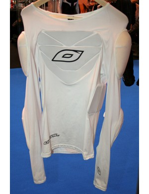 The pads are clearly visible on this prototype Stealth Shirt; production versions will be black