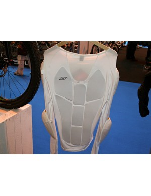 The spine protector is made from SC-1 by SaS-Tec, a soft material which stiffens under impact