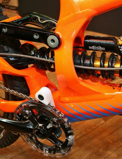 A highly-adjustable Cane Creek Double Barrel shock takes care of rear damping duties