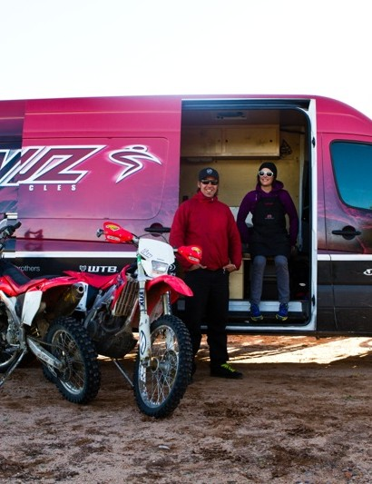 The duo lives out of Santa Cruz's Sprinter 9 months out of the year; motos accompany on certain special trip to the desert